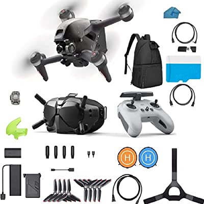 DJI FPV Combo - First-Person View Drone UAV Quadcopter Bundle with 128gb Card, Backpack, Landing Pad 4K Camera, S Flight Mode, Super-Wide 150° FOV, HD Transmission, Emergency Brake and Hover and More