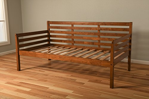 Daybed Frame Twin Choice to add Trundle Medium Brown Wood Finish Includes Solid Wooden Slats Lounger Best Futon Day Bed Sets (Medium Brown, Twin Frame w/Slats Only)
