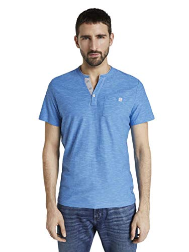 TOM TAILOR Herren T-Shirts/Tops Gestreiftes Henley-T-Shirt Blue fine Stripe,XL,21331,6000