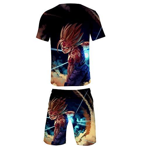 GMANKEE Kurzarm Shorts Anzug Sportswear Strandshorts Freizeitkleidung T Shirts Männer Junge Pyjama Tshirt Schlafanzug Dragon Ball Goku Anime Kleidung,M