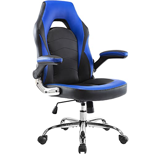 Office Chair, Ergonomic Gaming Chair Racing Computer Desk Chair Video Game Chair PU Leather Executive Swivel Chair with Flip-up Armrests and Lumbar Support for Gaming Working, Blue
