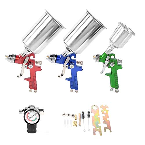 Set of 3 paint guns, spray gun, HVLP mini spray guns, with 1.0 1.4 1.7 nozzles, air inlet 1/4, with flow cup 600 ml/125 ml.
