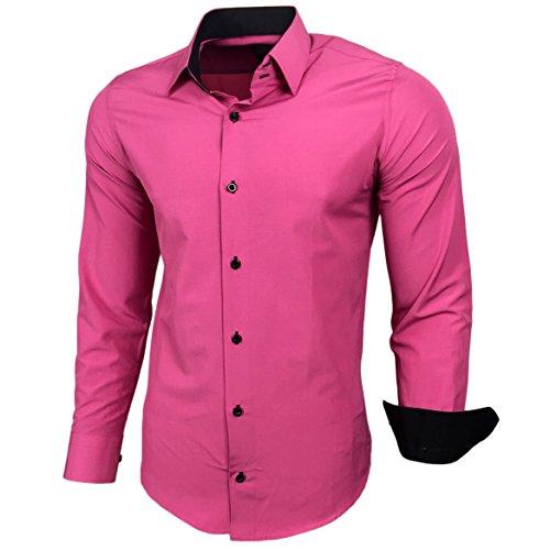 Baxboy Kontrast Herren Slim Fit Hemden Business Freizeit Langarm Hemd RN-44-2, Größe:L, Farbe:Pink