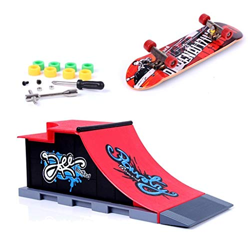MOMSIV Mini Finger Toy Skateboard Skate Park Ramp Kit, Half Pipe Ultimate Parks Training Props (C)