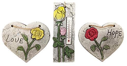 Roots & Shoots Juego de 3 piezas para colgar en el jardín, termómetro y corazones con diseño floral