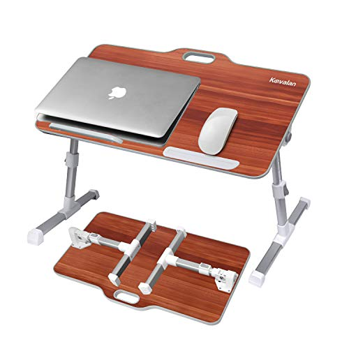 Laptop Stand, Kavalan Foldable Laptop Table w/Top Handle, Adjustable Height Desk Serving Tray on Couch, Standing Dining Table on Sofa, Ideal for Reading, Working, Studying, American Cherry/Large