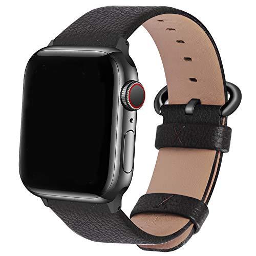 Fullmosa Correa Compatible Apple Watch 44mm 42mm 40mm 38mm, YAN 15 Colores Correa Cuero Pulsera para iWatch Series 6 5 4 3 2 1, Series SE, Gris Oscuro + Hebilla Ahumado + Adaptador Ahumado 42m
