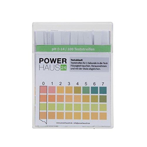 POWERHAUS24 Bandelettes d'analyse pour pH de l'eau 0–14, lot de 100