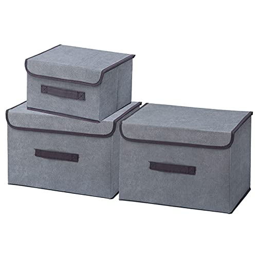 Timertick Scatole Portaoggetti con Coperchio, Set di 3 Scatole Contenitori Pieghevoli in Tessuto per Armadi, Casa, Ufficio (Grigio)