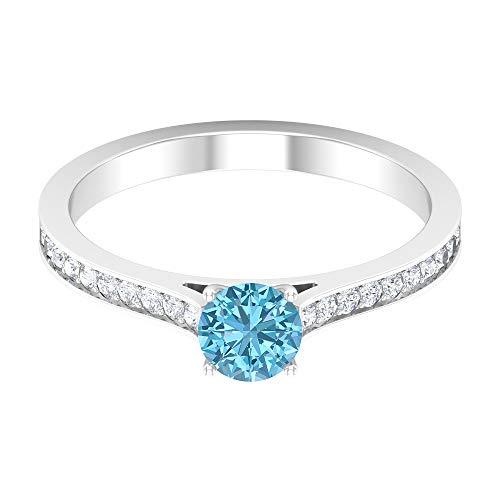 Rosec Jewels 14 quilates oro blanco redonda round-brilliant-shape H-I Diamond Aquamarine