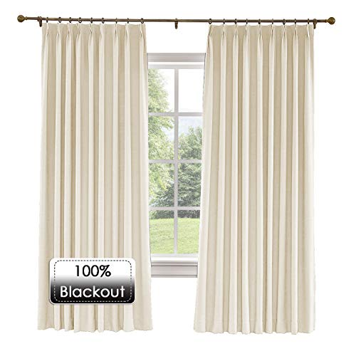 Prim 72x84-inch Linen Draperies Room Darkening Thermal Insulated Blackout Pinch Pleat Window Curtain for Traverse Rod and Track, Sand Beige, 1 Panel