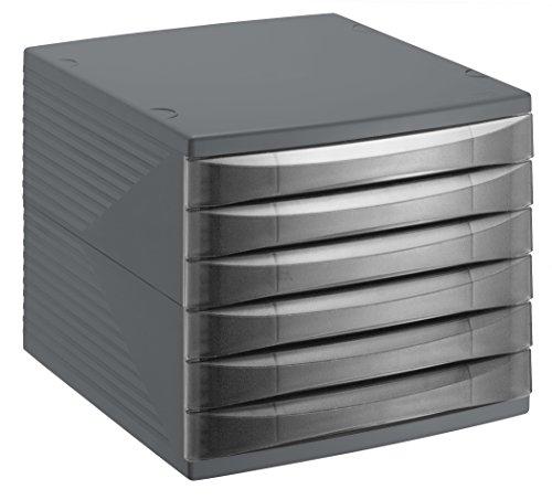 Rotho Quadra 10800MK000 Cajón archivador de Oficina, poliestireno, Formato A4, Aprox. 37 x 28 x 25 cm, plástico, Antracita, 6 Schübe
