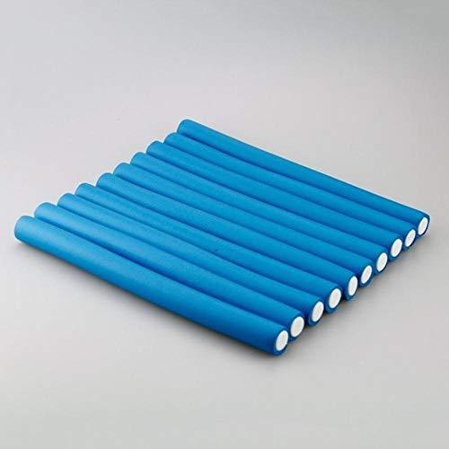 Piero 10st krulspelden haar zachte haarrollers krultang Pearl Cotton Hair Roll krullen buigzame flexi staven spiraal magische krul permanenten, 1.8x24cm blauw