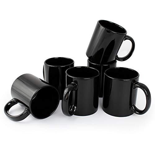 Werbewas Kaffeebecher, schwarz, 6er Set - 300ml Keramik Kaffeetassen ohne Druck zum bemalen und basteln geeignet - Simple Becher zum Personalisieren - Tassen/Pott für Kaffee, Tee und mehr