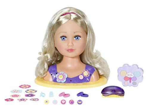 Zapf Creation 825990 BABY born Sister Styling Head 2-in-1 Frisierpuppe und Schminkkopf, hochwertige Haare, Styling-Zubehör und Schminke für Kind und Puppe, 35 cm Höhe