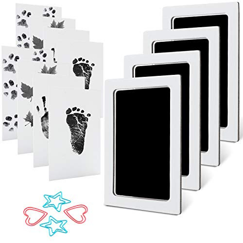 Baby Footprint Handprint Pet Paw Print Kit Clean Touch Ink Pad with 4 Ink Pads and 8 Imprint Cards Safe for Newborn Non-Toxic No Mess Inkless for Family Keepsake Baby Shower Gift and Registry
