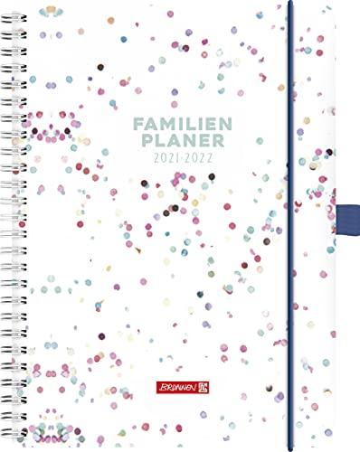"""BRUNNEN 1070290012 Familienplaner 2021/2022 (18 Monate) """"Dots"""" 2 Seiten = 1 Woche, Blattgröße 14,8 x 21 cm, Buchgröße 15 x 23 cm, Hardcover"""