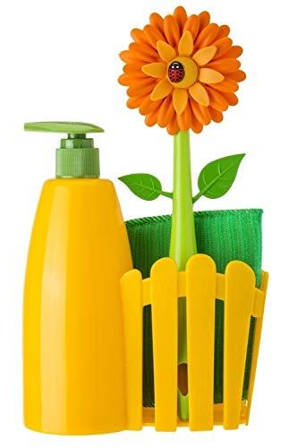 VIGAR Flower Power Set Fregadero con Dosificador de Jabón, Esponja y Cepillo Lavaplatos, Amarillo, Dimensiones: 14 x 7 x 26.5 cm