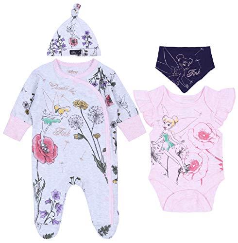 Grijs/Roze, Bodysuit & Jumpsuit & Bandana Bib & Hoed Set voor Baby Meisjes Tinker Bell Disney