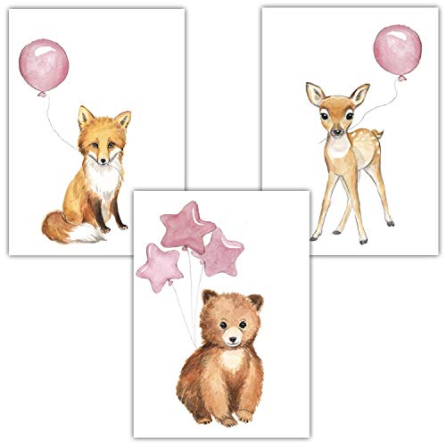 Frechdax® 3er Set Kinderzimmer Poster Baby Bilder DIN A4 | Waldtiere Safari Afrika Tiere Tierposter Luftballon Ballon Farbwahl (3er Set Rosa, Bär, Fuchs, REH)