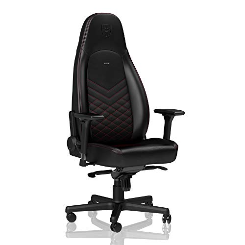 noblechairs Icon Chaise de Gaming - Chaise de Bureau - Cuir Synthétique PU - Noir/Rouge