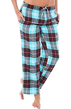 Alexander Del Rossa Women s Flannel Pajama Pants Long Cotton Pj Bottoms Large Teal and Brown Plaid  A0702Q23LG