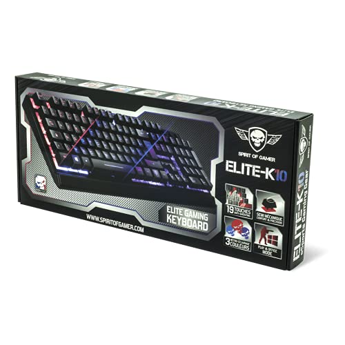"""SPIRIT OF GAMER Clavier Gaming Semi-Mécanique """"ELITE-K10"""" USB / Rétro-éclairage LED Spirit 3 couleurs rouge ,bleu, violet / 19 touches ANTI-GHOSTING / Mode Play et Office"""