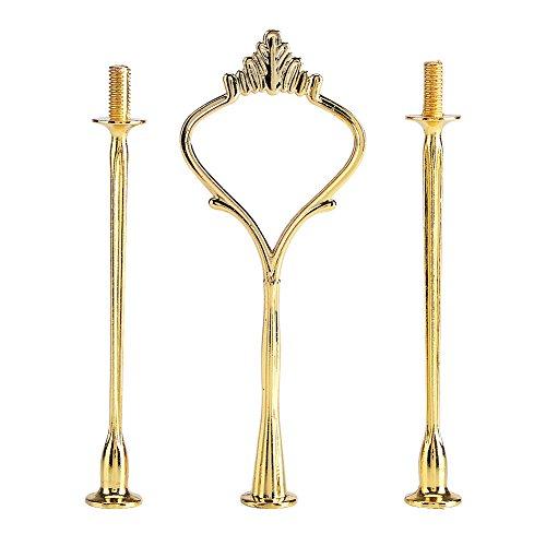 Haofy Gold Metallstange Mittellochausstech bis 3 Etage für Hochzeitstorte Etagere Tortenständer Tortenhalter Torten (3-Ten Kronen Gold)(3-Stufen-Krone Gold)