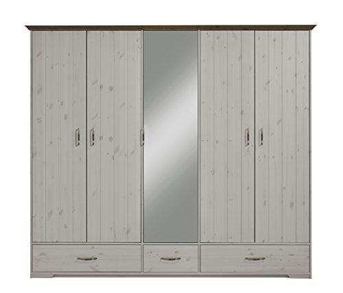Steens Hanstholm Kleiderschrank, 5 Türen, 238 x 206 x 61 cm (B/H/T), Kiefer massiv, Weiß
