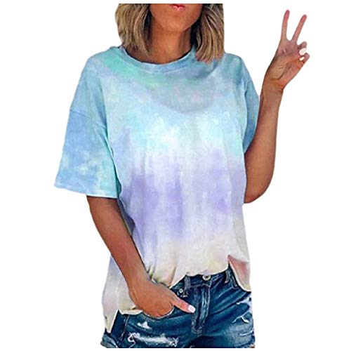Watonic Women's Short Sleeve Tie-dye T-Shirt Casual Tee Tops Summer Crew-Neck Tops(S-5XL)(Sky Blue,XL)