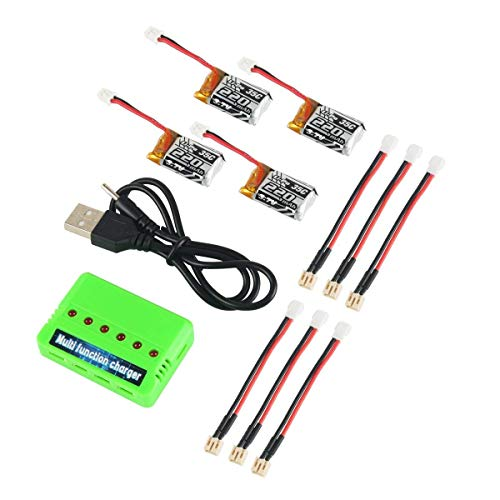 4pcs 1S 3.7V 220mAh LiPo Battery 35C with 6 in 1 Charger and Cable for E010 JJRC H36 NIHUI NH010 GoolRC T36 Holystone Hs210 Furibee F36 Blade Mcx2 Battery RC Quadcopter Drone Spare Parts