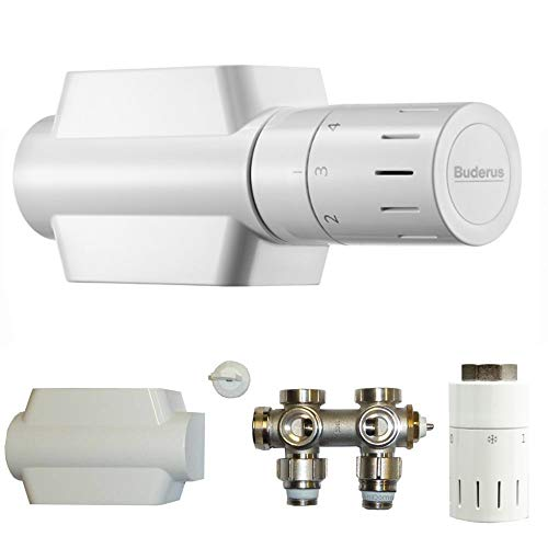 Buderus Ventil-Armaturen Set Multiblock Universal Eck- und Durchgangsform inkl. Thermostatkopf mit Nullstellung