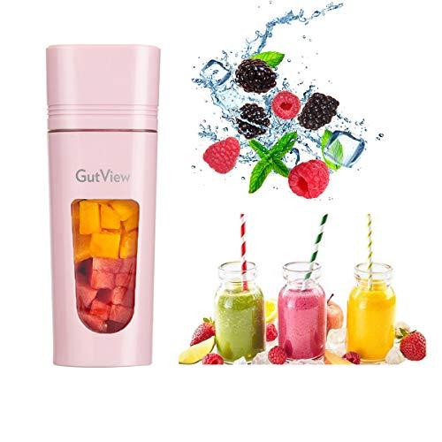 GutView Licuadora portátil con 4 cuchillas Exprimidor de carga magnética Fabricado con material sin BPA Mini licuadora para beber con una sola mano para batidos y batidos (pink)