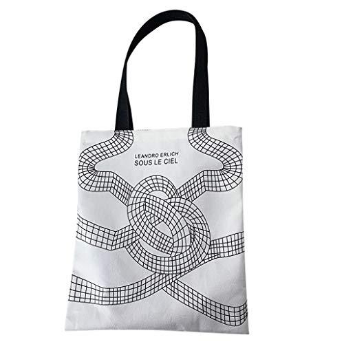 FiedFikt - Bolsa de lona para mujer, diseño de bolso de mano, reutilizable, para llevar al hombro, bolsas de compras