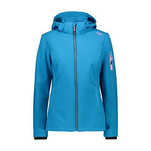CMP Damen Softshelljacke Woman Jacket Zip Hood 39A5006 Zaffiro-Danubio 38