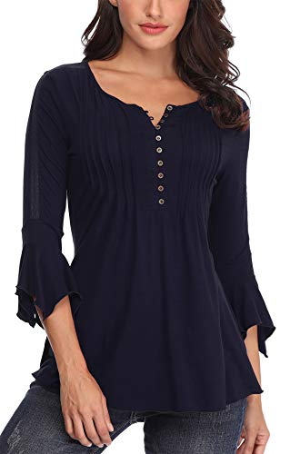 MISS MOLY Bluse Tunika Oberteile Damen Sommer Shirt Sexy V-Ausschnitt Tuniken Bluse Navy Blau Medium