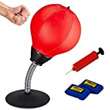 SFEEXUN Desktop Punching Bag with Suction Cup, Stress Buster for Desk with Air Pump and Hand Protectors, Small Boxing Bag for Home or Office Stress Relief