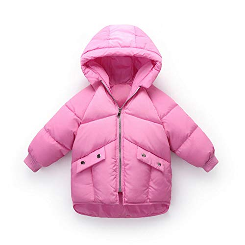 2-7Y Infant Baby Boys Girls Down Coats Hooded Zipper Solid Long Sleeve Winter Warm Outwear Fashion Puffer Jacket,Rose Red,3T