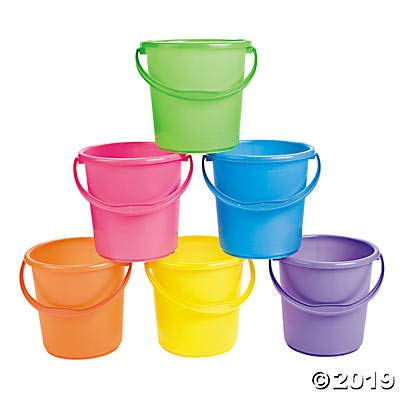 Sand Buckets for Kids Set of 12 bright colored pails with handles Great for Easter the Beach and Play