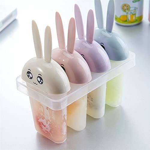 PPuujia Molde de popsicle 4 parrillas de conejo paletas de helado moldes de congelación fresca bandeja congelada