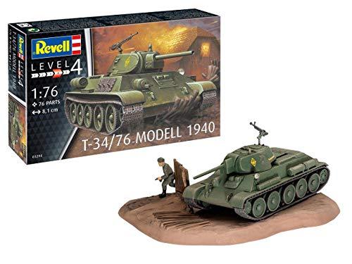Revell REV-03294 T-34/76 Modell 1940, Panzermodellbausatz 1:76, 8,1cm Toys, unlackiert