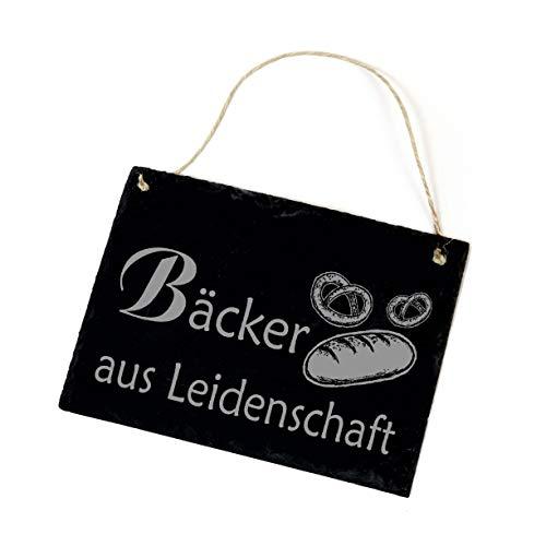 Schiefertafel Bäcker aus Leidenschaft - Türschild Brot Brezeln ca. 22 x 16 cm