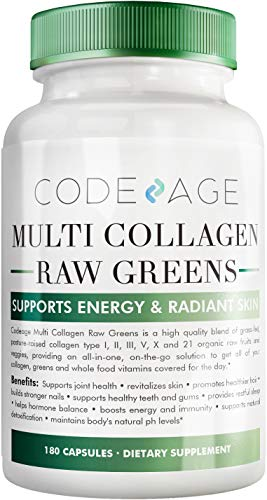 Codeage Multi Collagen Protein Capsules + Organic Greens Superfood -...