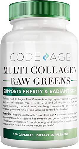 Codeage Multi Collagen Greens Complex - Multi Collagen Peptides + Organic Super Greens - Hydrolyzed Collagen Type I, II, III, V & X, Grass Fed Collagen Pills, Collagen Greens Powder, 180 Capsules