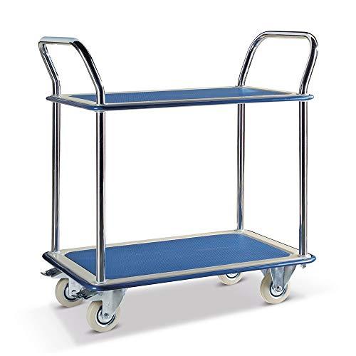 Tischwagen Hemmdal - Kommissionierwagen 2 Etagen | Tragkraft 120 kg | Ladefläche 840x480 mm | Gummireifen - spurlos & geräuscharm