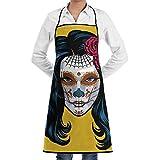 Lawenp Tablier Femmes sur crâne en Sucre Faire dia Adultes Polyester Cuisine Barbecue Restaurant Tablier avec réglable