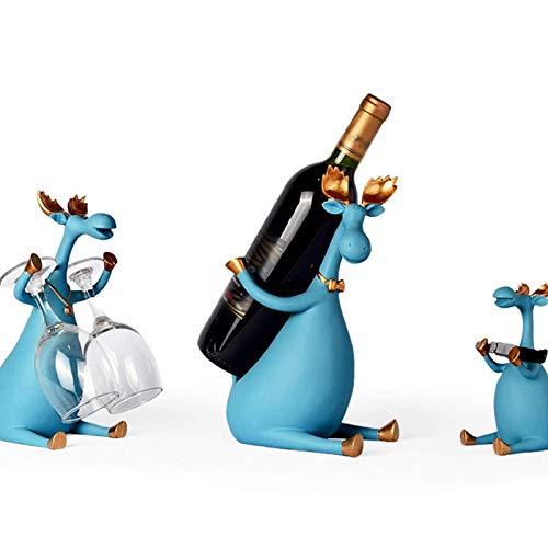 YWYW Estante para Vino Tinto de Resina nórdica Ciervo Familia Porta Botellas Figuras Miniaturas Artículos de decoración para la decoración de Bodas en el hogar (Color: C, Tamaño: S)