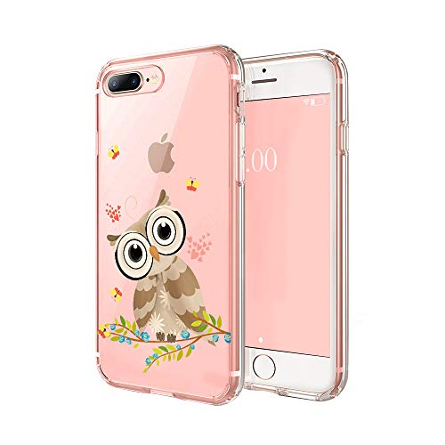 cocomong Cute Owl Phone Case Compatible with iPhone 7 Plus Case Owl iPhone 8 Plus Case for Girls Boys, Funny Decor Owl Gifts for Women Men, Clear Thin Soft TPU Cover Transparent Protective Slim 5.5'