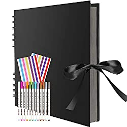 """【Scrapbook kits】1pcs scrapbook(10.74""""L x 7.99""""W x 0.78""""H) with 12pcs Metallic Marker Pens and 2 photo stickers. 【Large Capacity】Total of 40 black sheets(80 pages), the inner page is11.4""""L x 7.8"""". which is able to hold over 160 photos, 6x4 inch sized ..."""