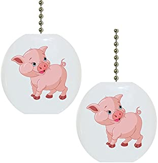 Set of 2 Baby Pig Farm Animal Solid Ceramic Fan Pulls